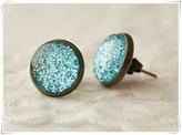 Flowers Stardust blue earrings, blue stud earrings, antique brass earrings