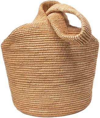 Sensi Pullthrough Woven Straw Top-Handle Bag