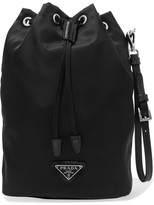 Prada Vela Leather-trimmed Shell Cosmetics Case - Black