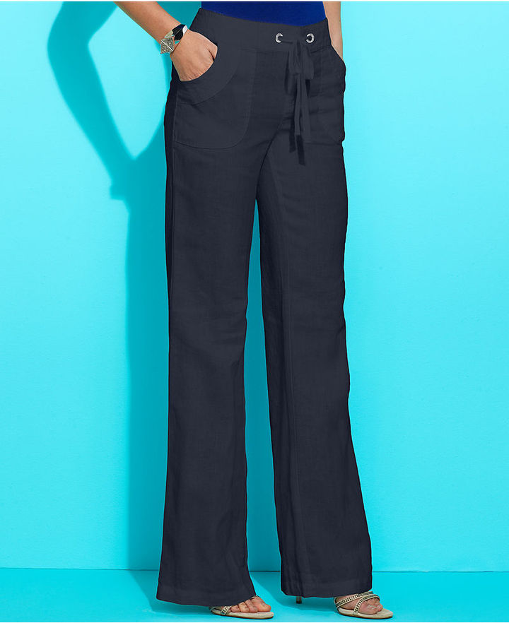 INC International Concepts Petite Pants, Wide-Leg Linen