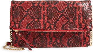 Lulus Instant Fave Snakeskin Embossed Faux Leather Folded Clutch