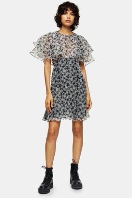 Topshop Womens Black And White Organza Floral Mini Dress - Monochrome