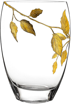 Badash Crystal Gold Leaves & Hand Decorated 12In Vase