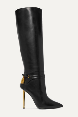 Tom Ford Leather Knee Boots - Black