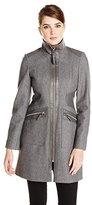 Via Spiga Women's Wool-Blend Walking Coat with Faux-Leather Trim