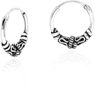 Aeravida Handmade Simply Amazing Balinese Inspired 13mm Sterling Silver Hoop Earrings