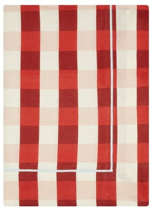Angela Wickstead - 300cm X 205cm Gingham Embroidered Linen Tablecloth - Red Multi