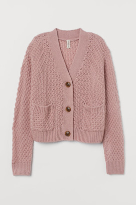 H&M Chunky-knit Cardigan - Pink