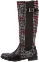 Dolce & Gabbana Tweed Knee-High Boots
