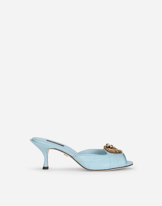 Dolce & Gabbana Quilted Nappa Leather Devotion Mules