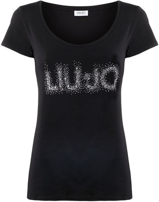 Liu Jo Logo-Print Studded T-Shirt