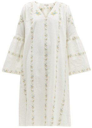 D'Ascoli Suffolk Floral-print Cotton Dress - Womens - Blue