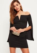 Missguided Black Crepe Bardot Split Flared Sleeve Dress
