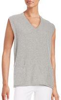Maxmara Studio V-Neck Ribbed Cashmere and Wool-Blend Sweater Vest