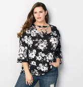 Avenue Floral Caged Bell Sleeve Top