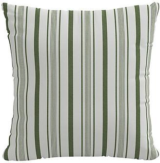 One Kings Lane Finn Stripe Pillow - Moss/White