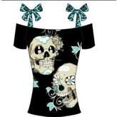 YINUOWEI Sexy 3D Plus Off Shoulder Skull Print Lace Up Cotton Blouse (4XL, )
