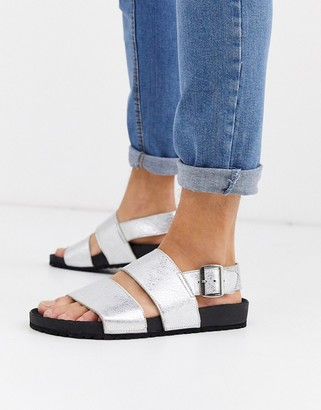 ASOS DESIGN leather sandals in metallic silver