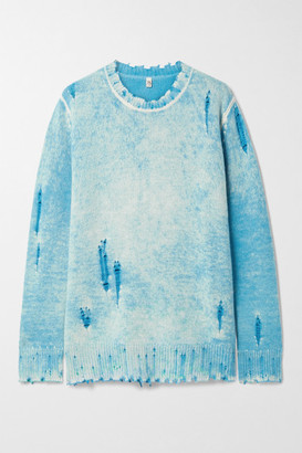 R 13 Distressed Cashmere Sweater - Blue