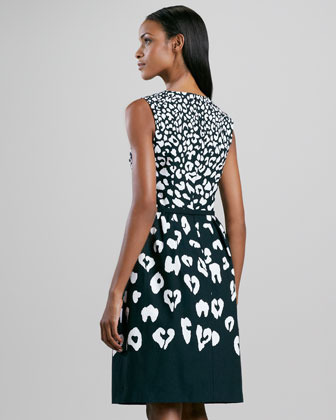 David Meister Animal-Print Full-Skirt Dress