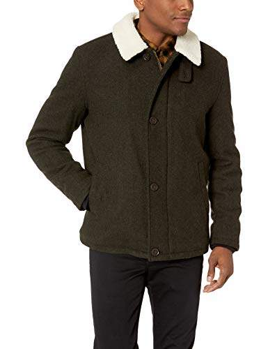 Cole Haan Men's Tumbled Wool Short Jacket with Faux Sherpa Collar