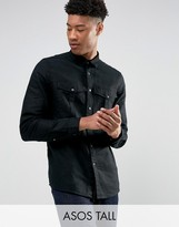 Asos TALL Linen Mix Overshirt With Poppers