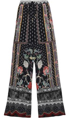 Camilla Crystal-embellished Printed Silk Crepe De Chine Wide-leg Pants