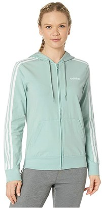 adidas Essential 3 Stripe Full Zip Single Jersey Hoodie (Green Tint/White) Women's Clothing