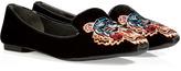 Velvet Embroidered Slippers in Black