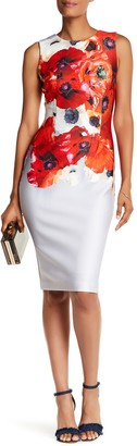 Adrianna Papell Floral Printed Scuba Dress