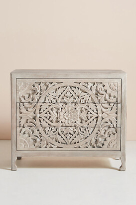 Anthropologie Handcarved Lombok Three-Drawer Dresser By in Beige Size ALL