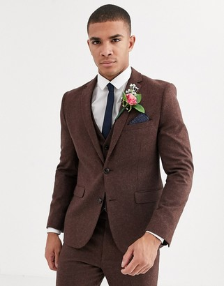 Harry Brown wedding tweed heritage slim fit suit jacket