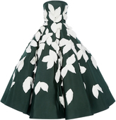 Oscar de la Renta Leaf Embroidered Tea Length Gown