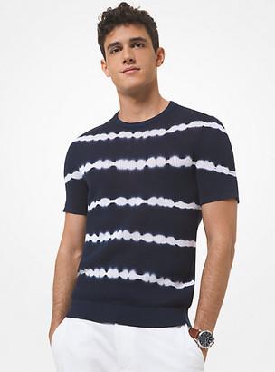 Michael Kors Tie-Dye Ribbed Cotton Short-Sleeve Sweater - Midnight
