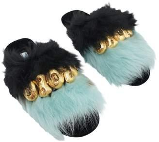 Prada Blue Fur Mules & Clogs