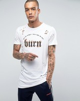New Look Distressed Longline T-Shirt With Burn Print In White