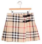 Burberry Girls' Pleated Nova Check Skirt