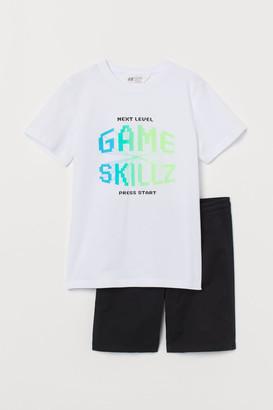 H&M T-shirt and Shorts - Black