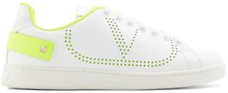 Valentino White and Green Garavani VLogo Backnet Sneakers