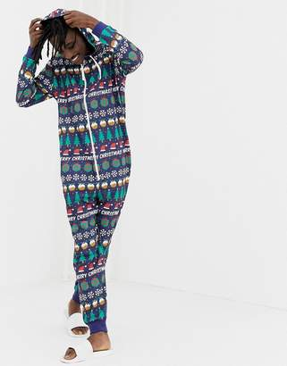 Asos Design DESIGN Holidays onesie in merry christmas print-Navy