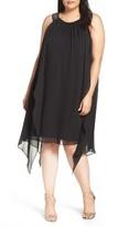 Xscape Evenings Plus Size Women's Embellished Handkerchief Hem Trapeze Dress