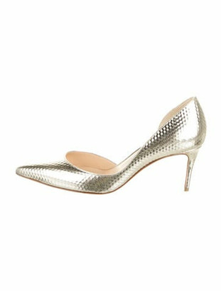 Christian Louboutin Leather D'Orsay Pumps Gold
