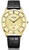 Rotary Ultra Slim Men's Black Leather Strap Watch