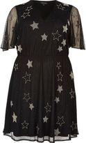 River Island Womens Plus black sparkly star mesh dress