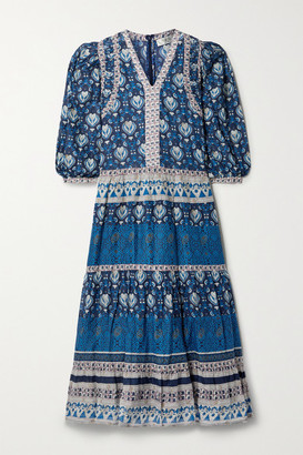 Sea Brigitte Tiered Printed Cotton-voile Midi Dress - Navy