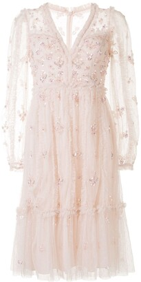 Needle & Thread Sequin Floral Embroidered Tulle Dress