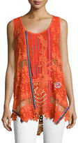 Johnny Was Mixed Embroidery Georgette Tank
