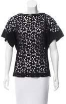 Barbara Bui Leather Trimmed Lace Top w/ Tags