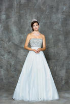 Glow by Colors - G668 Mesh Semi-Sweetheart Ballgown