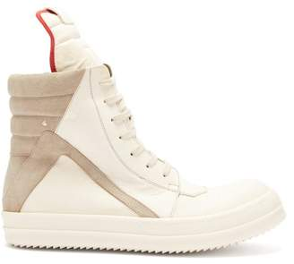 Rick Owens Geobasket High Top Leather Trainers - Mens - White Multi